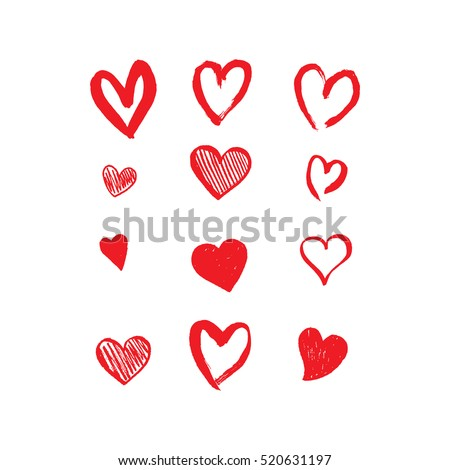 set valentines day red icons with hearts stock photo © ecelop