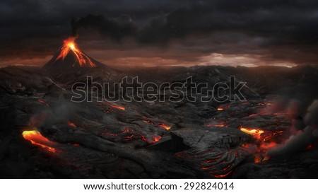 вулканический пейзаж природы горные автобус красный Сток-фото © adrenalina
