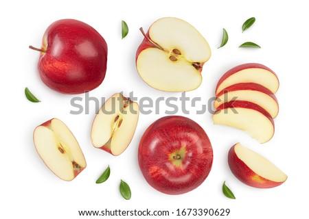 Szeletel almák izolált fehér alma gyümölcs Stock fotó © natika