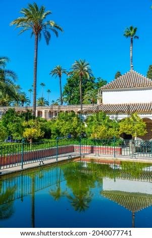 White Pavilion Garden Alcazar Royal Palace Seville Spain Stock photo © billperry