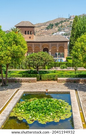 Alhambra Courtyard El Partal Pool Reflection Granada Andalusia S Stock photo © billperry