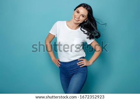 小さな 魅力的な女の子 白 シャツ 明るい 化粧 ストックフォト © vlad_star