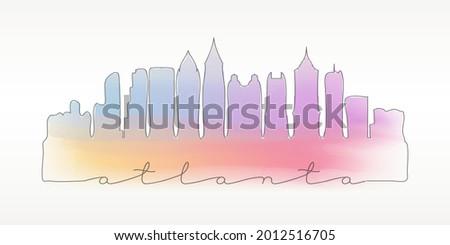 watercolor art print of the skyline of atlanta georgia usa stock photo © chris2766