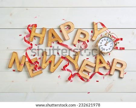 Composite image of happy new year in red alarm clock Stock photo © wavebreak_media