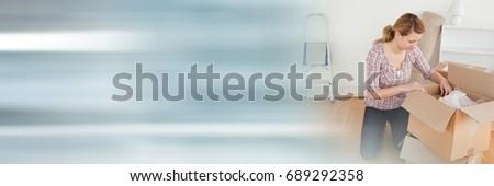 mujer · vacío · sonriendo · blanco · manos · sonrisa - foto stock © wavebreak_media
