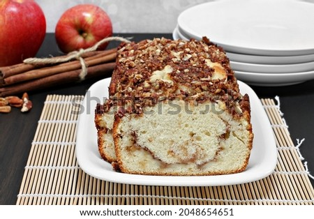 pecan apple and cinnamon loaf cake close up stock photo © rojoimages
