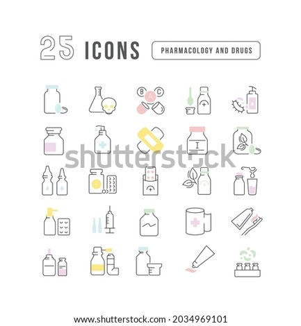 drug categories   modern simple thin line design icons pictograms set stock photo © decorwithme