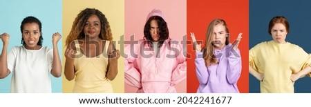 Boos meisje hoofdtelefoon magazine muziek technologie Stockfoto © IS2