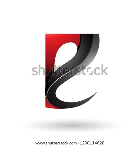 Red and Black Glossy Curvy Embossed Letter E Vector Illustration Stock photo © cidepix