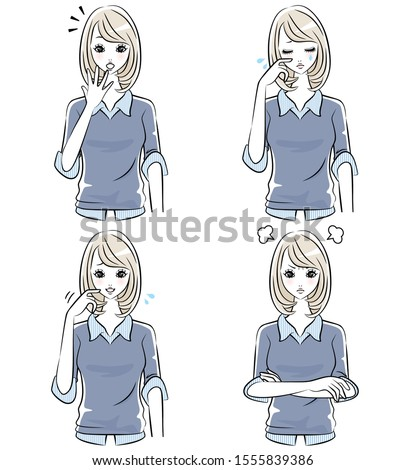 isolated female facial character stock photo © bluering