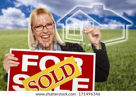 üres · tábla · ingatlanügynök · kulcsok · női · ház · gyönyörű - stock fotó © feverpitch