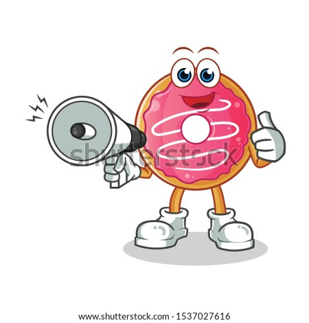 Happy Donut Cartoon Character With Sprinkles Holding Up A Blank Sign Stock photo © hittoon