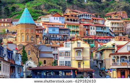 Wooden carved balconies in the Old Town of Tbilisi, Georgia Stock photo © boggy