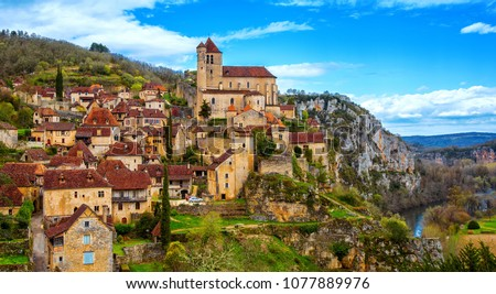 Frankrijk dorp katholiek kerk hemel Stockfoto © borisb17