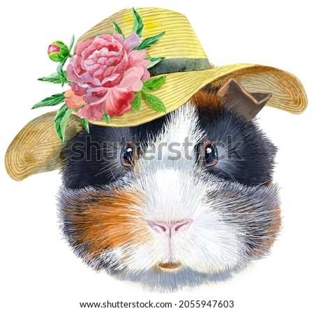 Watercolor portrait of abyssinian guinea pig in summer hat with peony on white background Stock photo © Natalia_1947