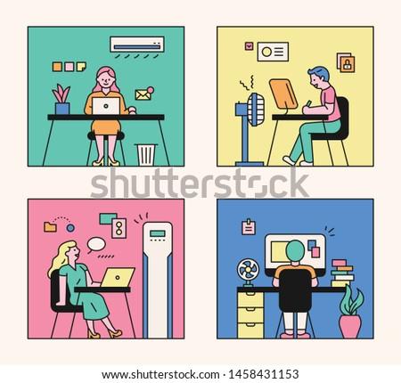 Man in office cooled by fan Stock photo © jossdiim