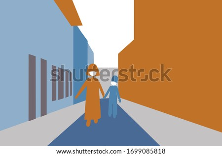 Mother and son walking through a empty city Stock photo © trendsetterimages