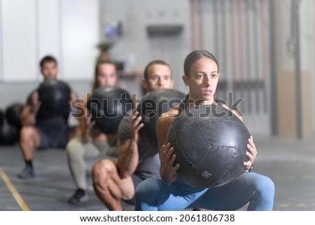 Taai training vrouw fitness oefening bal Stockfoto © darrinhenry