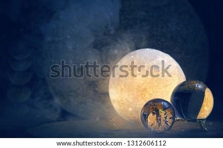 Falcı crystal ball cam ahşap dünya Stok fotoğraf © nicemonkey