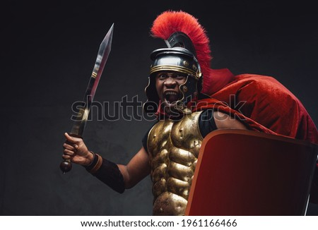 Angry legionary soldier with a gladius and shields Stock photo © Nejron