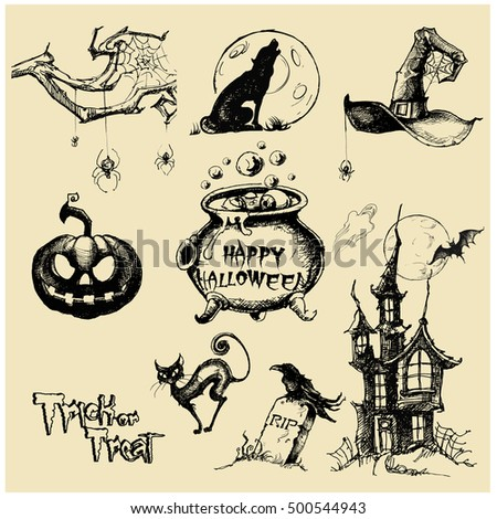 halloween haunted house doodles stock photo © jackybrown