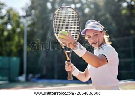 csinos · teniszező · mosolyog · kamera · napos · idő · sport - stock fotó © stryjek