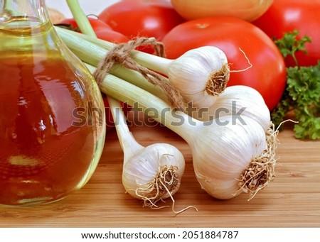 świeże czosnku pomidory pietruszka oliwy Zdjęcia stock © rojoimages