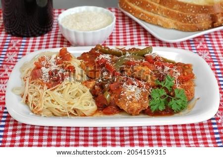 Tavuk makarna yan ekmek spagetti İtalyan Stok fotoğraf © rojoimages