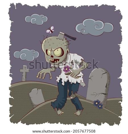 verde · zombi · monstruo · carácter · vector · arte - foto stock © bluering