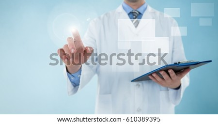 Stock photo: futuristic interface against blue background