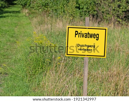 shield with passage prohibited and private road stock photo © ustofre9