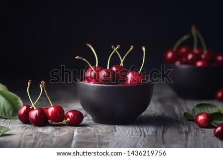 Piros cseresznye tál zöld nyár tavasz Stock fotó © Illia