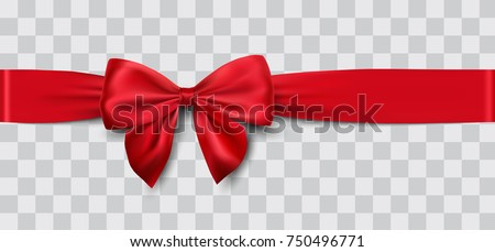 Realistic red bow with horizontal red ribbons isolated on white. Element for decoration gifts, greet Stock photo © olehsvetiukha