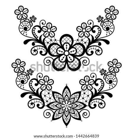 Lace single vector pattern set - floral lace half wreath, half circles design collection, retro open Stock photo © RedKoala