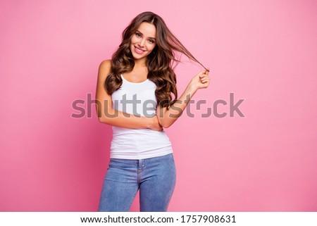 ストックフォト: 美 · 写真 · 愛らしい · 若い女性 · 長髪 · 笑みを浮かべて