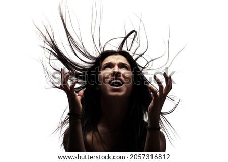 Dark shadow yelling to elegant lady Stock photo © ra2studio