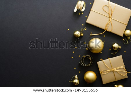 Christmas baubles on black flatlay backdrop, luxury winter holid stock photo © Anneleven