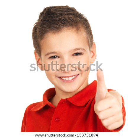 Front view of Caucasian schoolboy with hands on face and surprised against greenboard in a classroom Stock photo © wavebreak_media