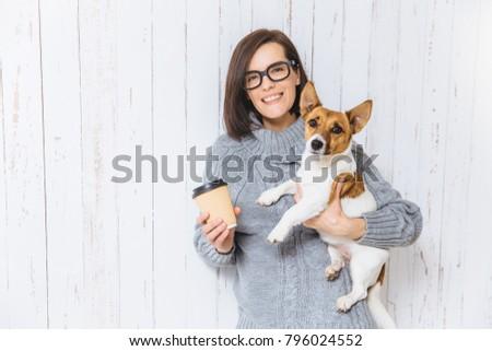 Foto tevreden brunette vrouwelijke favoriet hond Stockfoto © vkstudio