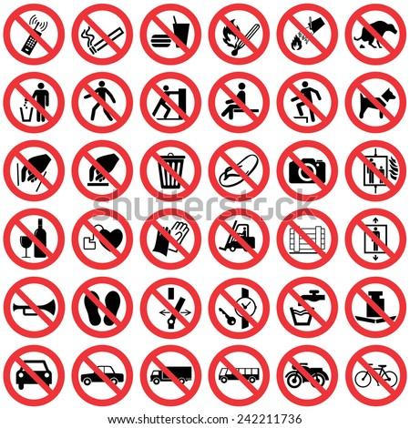 avertissement · signes · quatre · officielle · internationaux - photo stock © ecelop