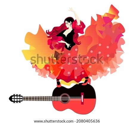 kadın · dansçı · güzel · uzun · turuncu · elbise - stok fotoğraf © feedough