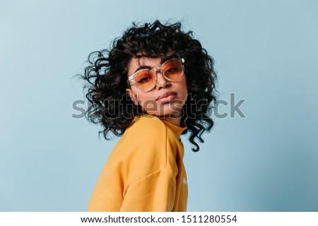 curly cute brunette  Stock photo © OleksandrO