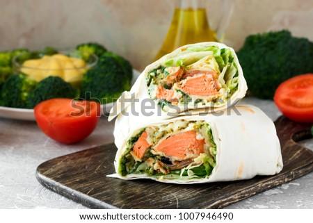 dish with salmon wraps Stock photo © compuinfoto