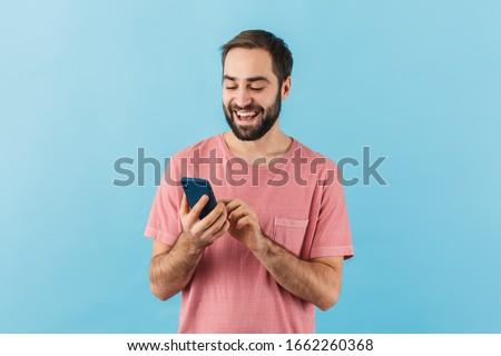 portret · knap · zakenman · mobiele · telefoon · glimlachend - stockfoto © photography33
