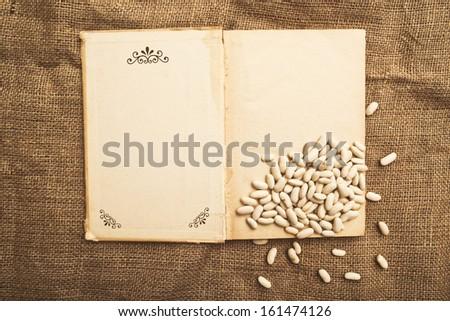 почка бобов открытой книгой холст текстуры бумаги Сток-фото © stevanovicigor