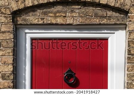 Rood · geschilderd · deur · muur · tonen · veiligheid - stockfoto © jenbray