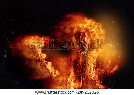 Palenie zamieszek akt mężczyzna ognia ulic Zdjęcia stock © stevanovicigor