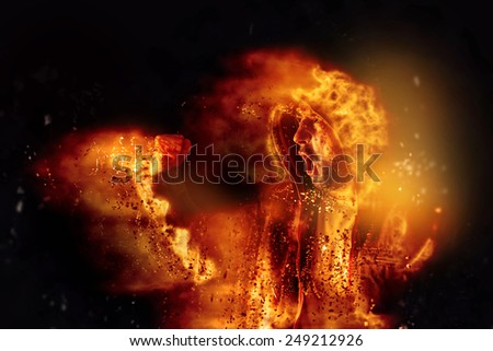 Ardente motim agir masculino fogo ruas Foto stock © stevanovicigor