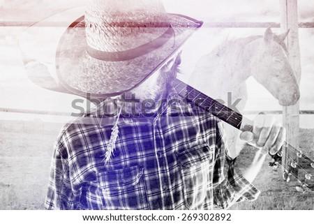 adam · at · siluet · çiftlik · hayvan · örnek - stok fotoğraf © stevanovicigor