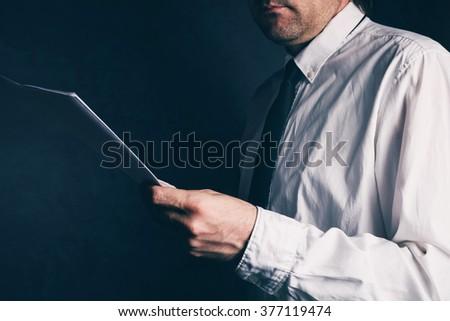 Tax inspector doing financial auditing, businessman reading busi Stock photo © stevanovicigor